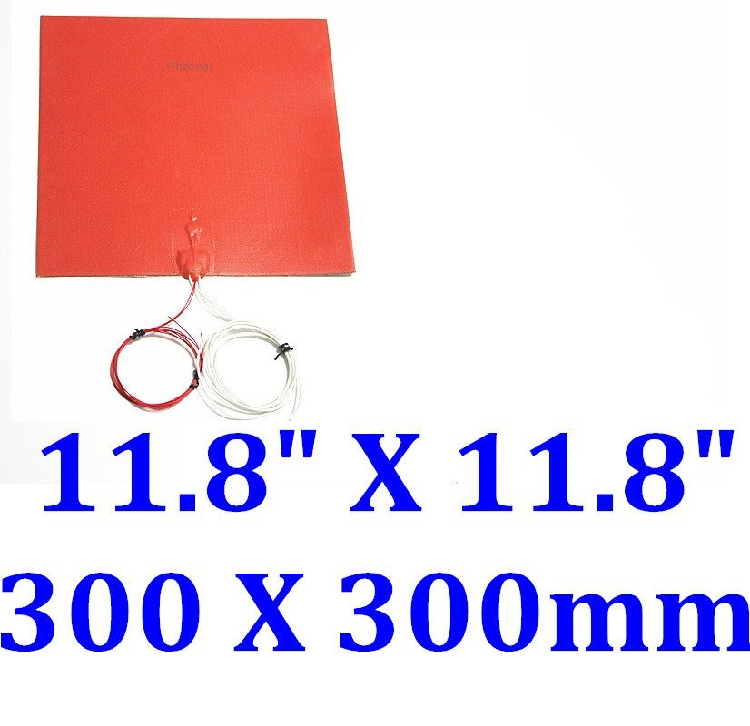 """8/"""" X 12/"""" 200 X 300mm w// 3M w Thermistor 3D Printer Heated Bed CE Silicone Heater"""