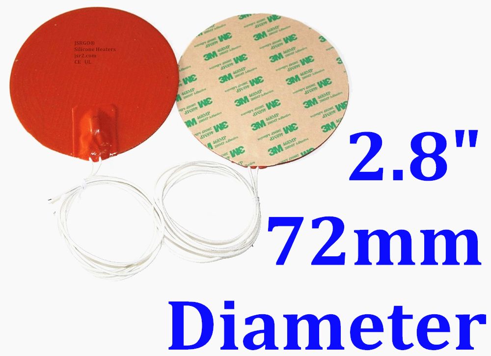 "2.8"" 72mm Diameter Round 12V 4W w/ 3M w/ 80 Degree C Thermostat Silicone Heater"