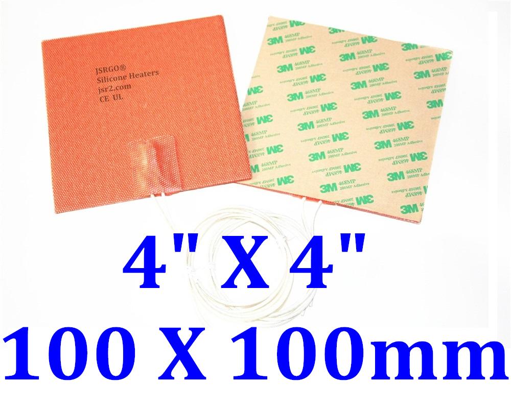 "4"" X 4"" 100 X 100mm 12V 35W / 50W w/ 3M Factory Direct Sale Silicone Heater Pad"