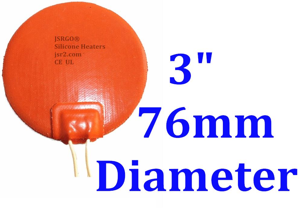 "3"" 76mm Diameter 120V 35W JSR2 Custom Silicone Rubber Round CE UL Heater"