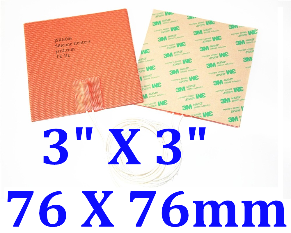 "3"" X 3"" 76 X 76mm 50W w/ 3M Factory Direct Sale CE UL Silicone Heater Pad"