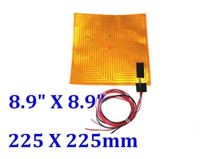 "8.9"" X 8.9"" 225 X 225mm 24V 160W w/ 3M w/ NTC100K Thermistor CE UL Kapton Heater"