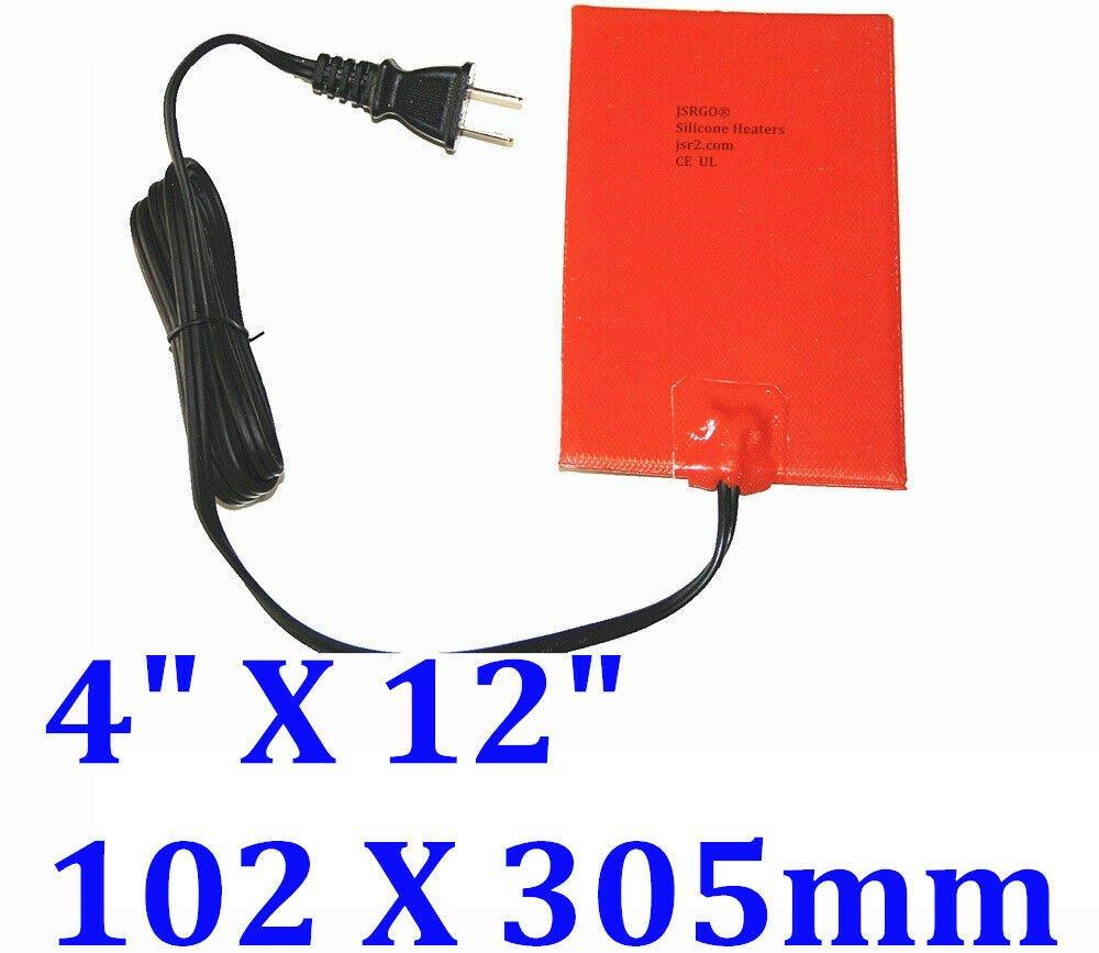 "4"" X 12"" 102 X 305mm 120V 125W w/ 3M w Plug CE UL Engine Oil Pan Silicone Heater"