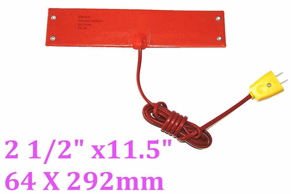 """2 1/2"""" X 11.5"""" 64 X 292mm 120V 100W w/ 4 Eyelets in Short Side w Plug Heater Pad"""