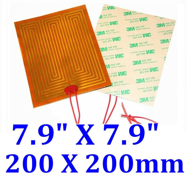 "8"" X 8""  200 X 200mm 12V 120W w/ 3M Factory Direct Sale CE JSRGO Kapton Heater"