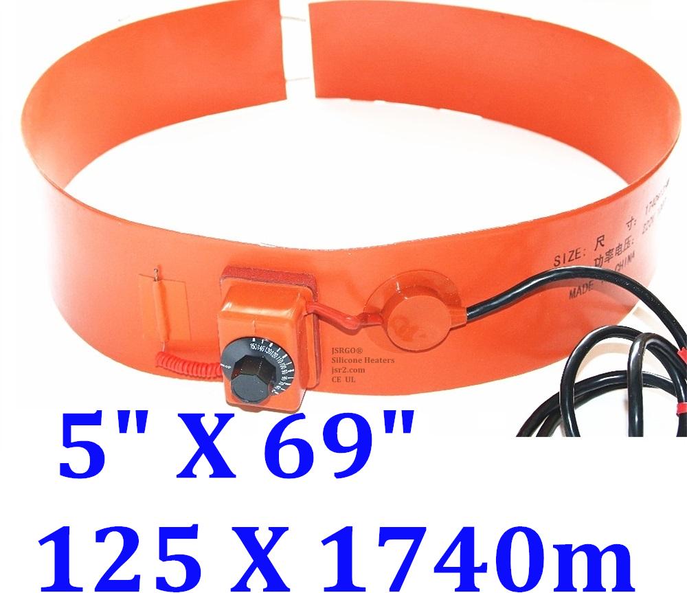 """5"""" X 69"""" 125 X 1740mm 1500W Oil Drum Heater 200Ltr Pail Barrel Heating Band Belt"""