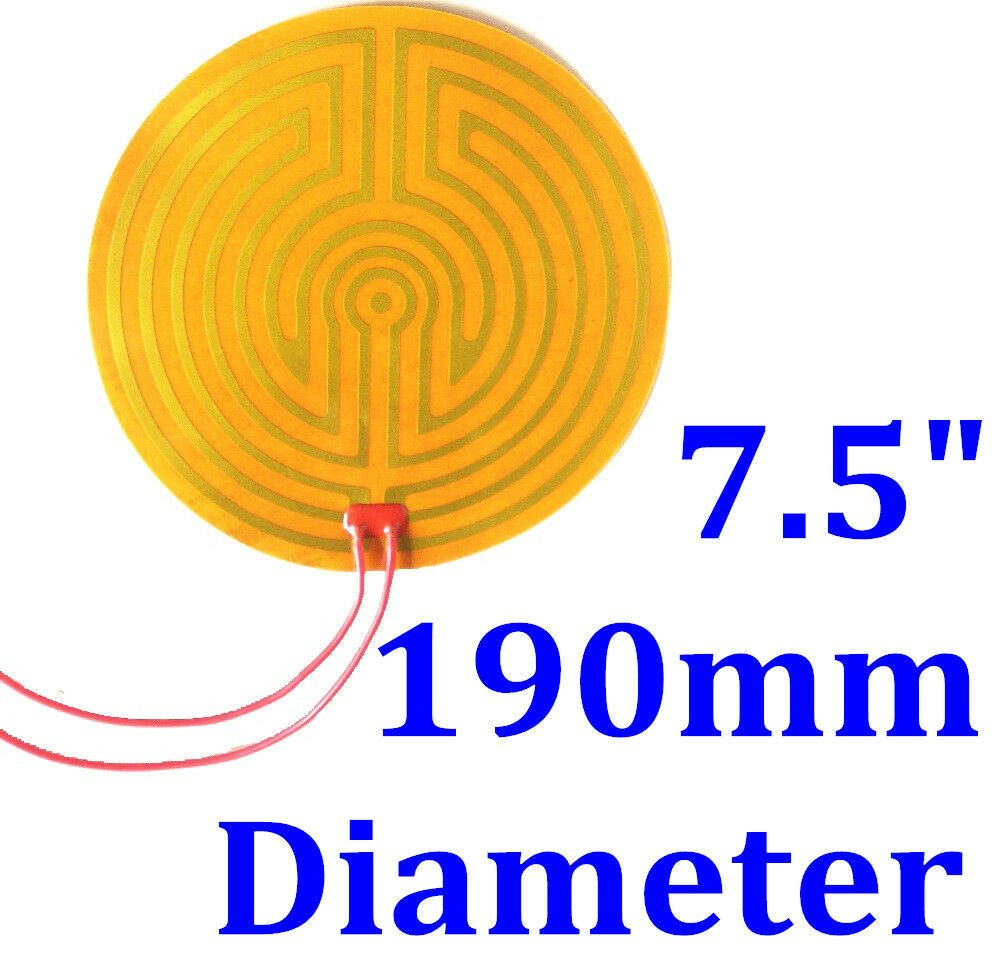 "7.5"" 190mm Diameter 24V 220W w/ 3M  w/ 100K Thermistor Kapton Heater Heating Pad"