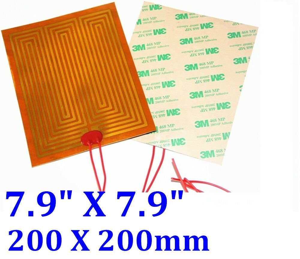 "7.9"" X 7.9"" 200 X 200mm 100V 10W w/ 3M tape 30mm for wires Kapton Heater 10 PCs"