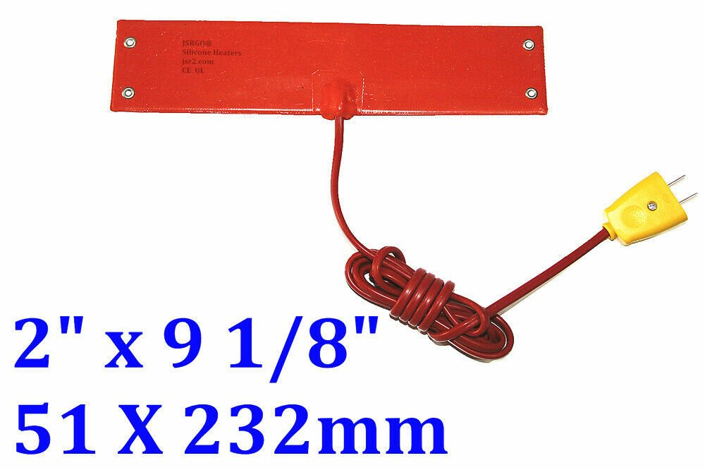 "2"" x 9 1/8"" 51 X 232mm 220V 100W w/ 4 Eyelets in Short Side w/ Plug Heater Pad"