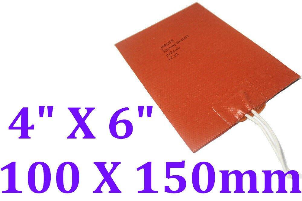 "4"" X 6"" 102 X 152mm 120V 25W NO 3M adhesive Heating Pad JSRGO  Silicone Heater"