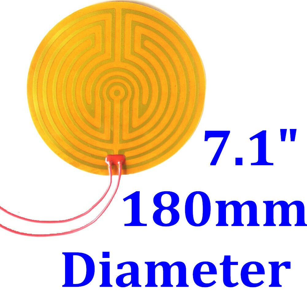 "7.1"" 180mm Diameter 24V 95W w/ 3M  w/ 100K Thermistor Kapton Heater Heating Pad"