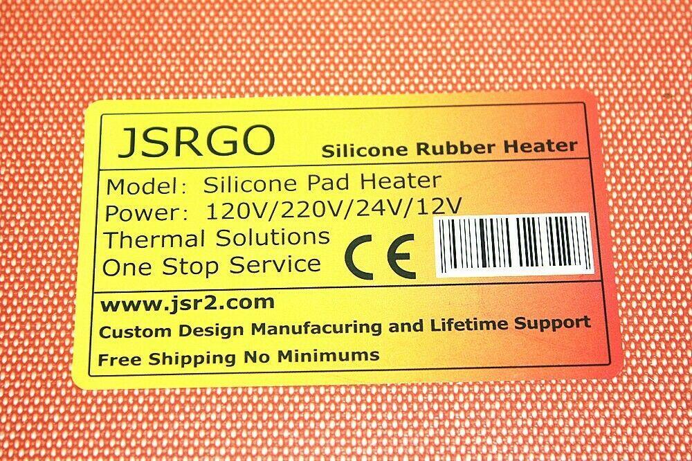 """3.5"""" X 4"""" 90 X 100mm 12V 6W w 50 C Thermostat CE UL JSRGO Silicone Pad Heater"""