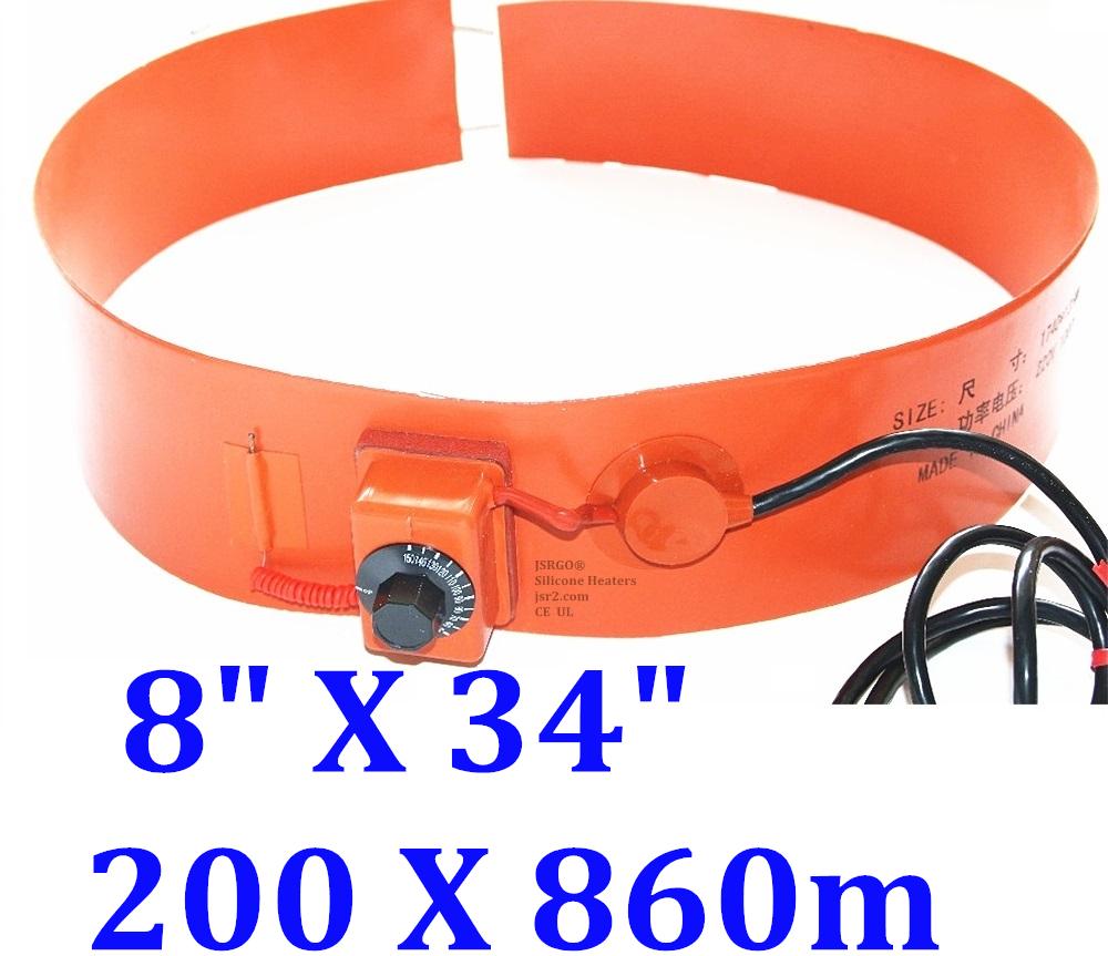 """8"""" X 34"""" 200 X 860mm 120V 600W WVO Bio-diesel Tank Barrel 5Gal CE UL Pail Heater"""