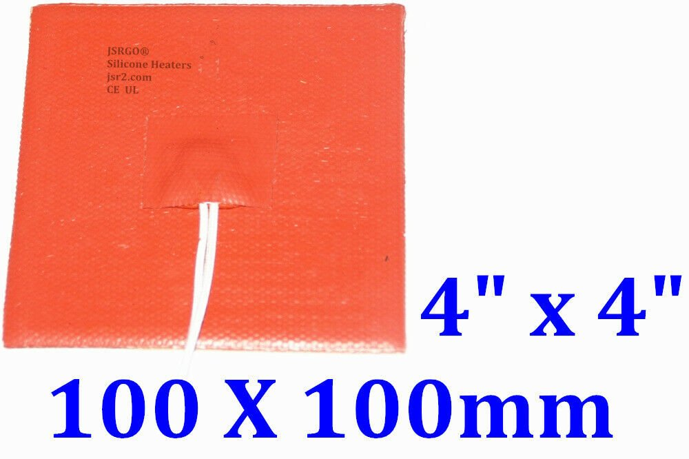 "4"" X 4"" 100 X 100mm 12V 70W 3M JSRGO Universal CE UL Silicone Rubber Heating Pad"