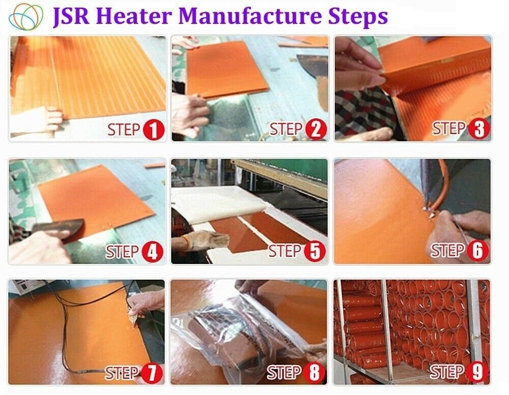 """4"""" X 4"""" 100 X 100mm 12V 50W w 3M Best Silicone Heater Heating Pads Flexible Mats"""