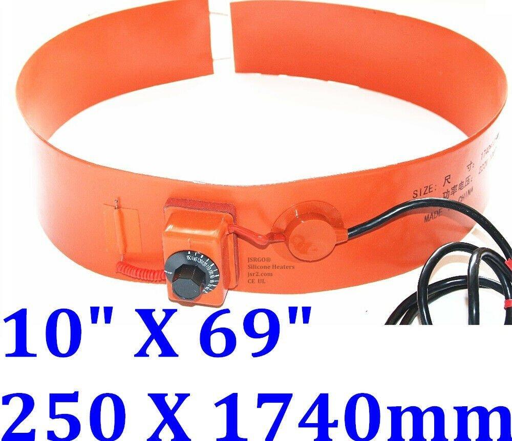 """10"""" X 69""""  250 X 1740mm 2000W Drum Band Fuel Diesel Belt WVO JSR Silicone Heater"""