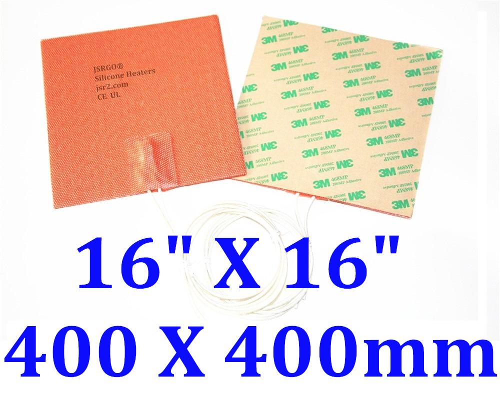 "16 "" X 16"" 400 X 400mm 220V 1200W 3D Printer HeatBed CE UL Silicone Heater Pad"