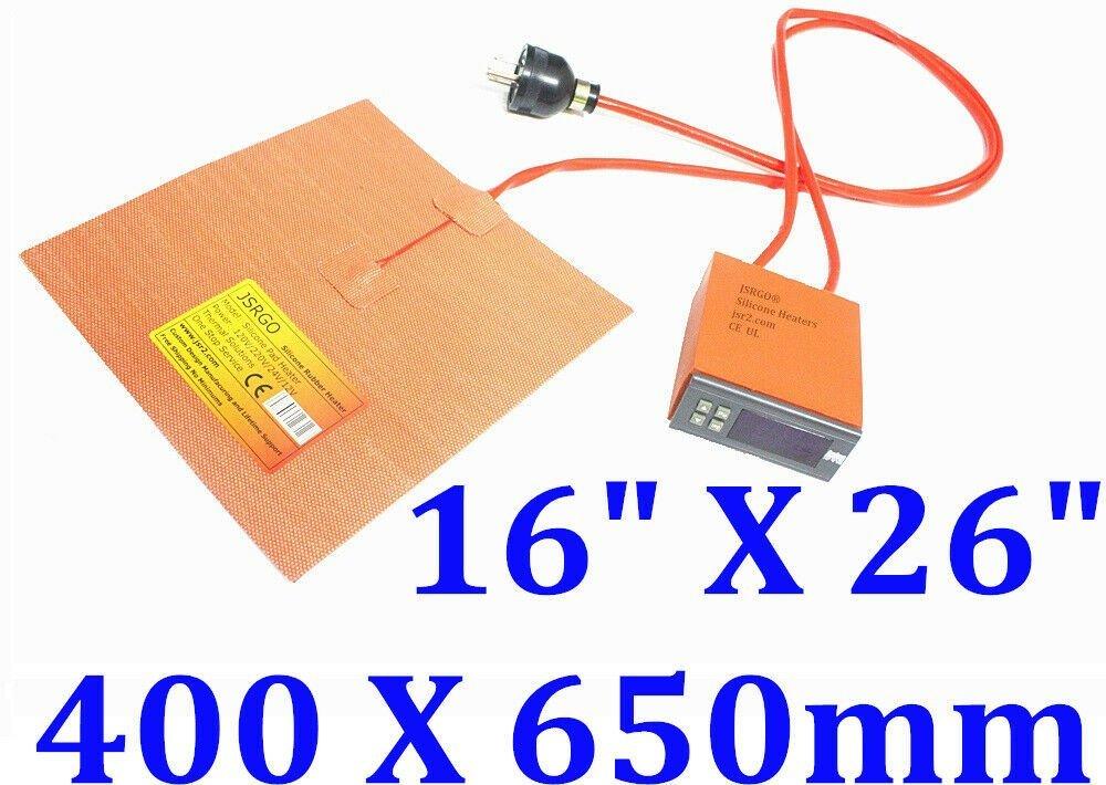 "16"" X 26"" 400 X 650mm 110V 1600W w/ 3M Digital Controller JSRGO Silicone Heater"