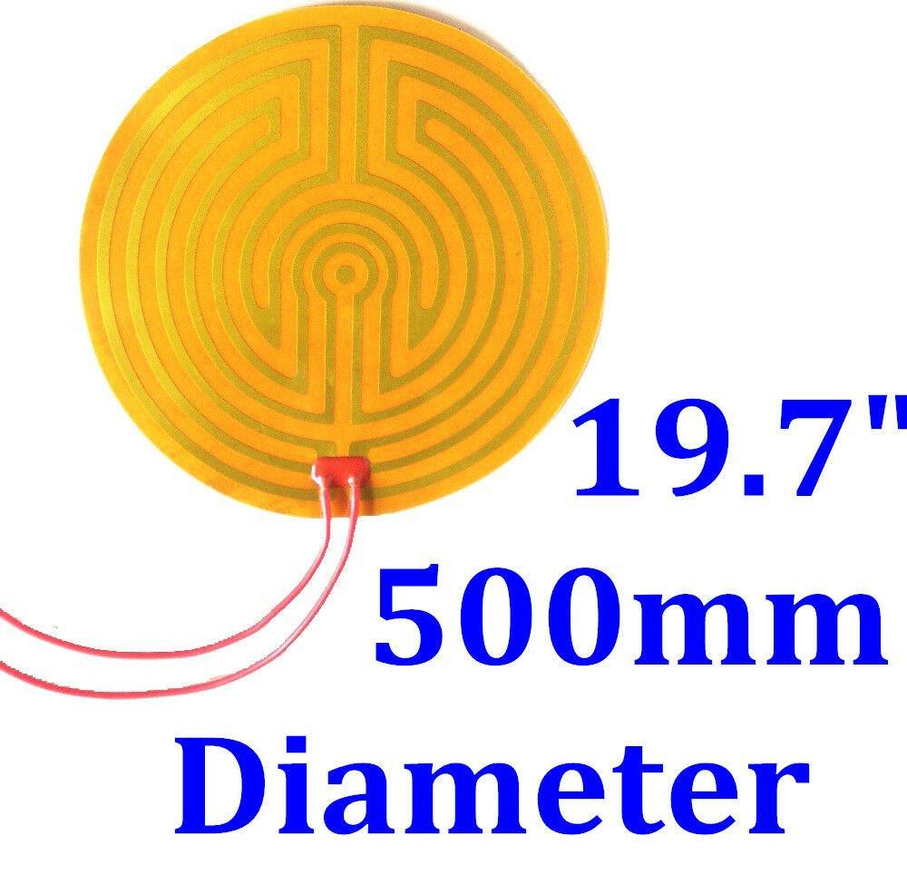 "19.7"" 500mm Diameter Round 120V 500W w/ 3M  w/100K  Kapton Heater Heating Pad"