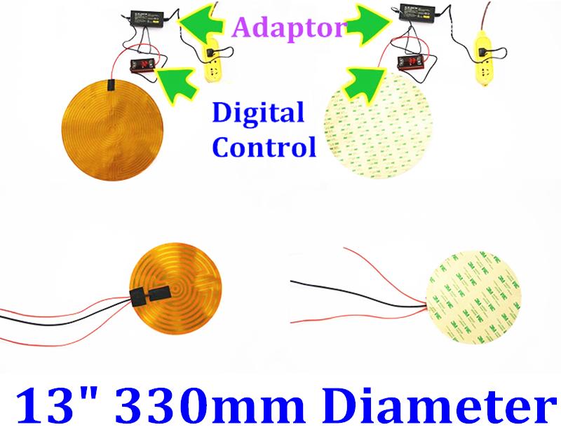 "13"" 330mm Diameter Round 220V 250W w/ 3M  w/100K  Kapton Heater Heating Pad Mats"