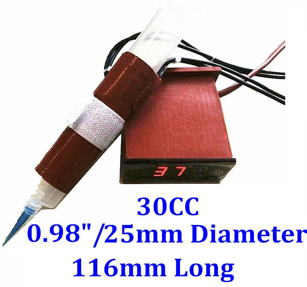30cc Air Syringe 116mm Long 25mm Diameter 12V 35W Heater w/ Digital Controller