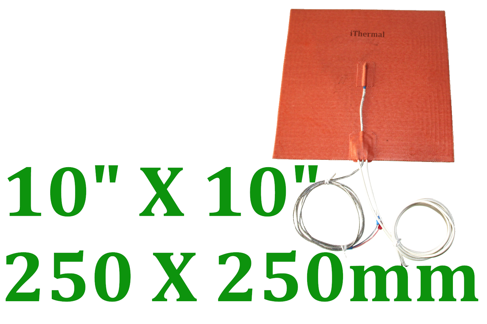 "10"" X 10"" 250 X 250mm 24V 300W w/ 3M w/ K type Thermocouple in Middle CE UL Pad"