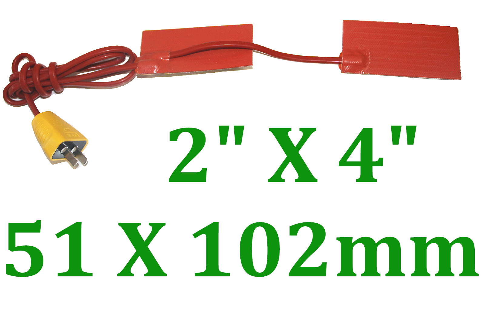 "2"" X 4"" 51 X 102mm 120V 6W w/ 3M w/ Plug Custom CE Silicone Rubber Heaters 4 PCs"