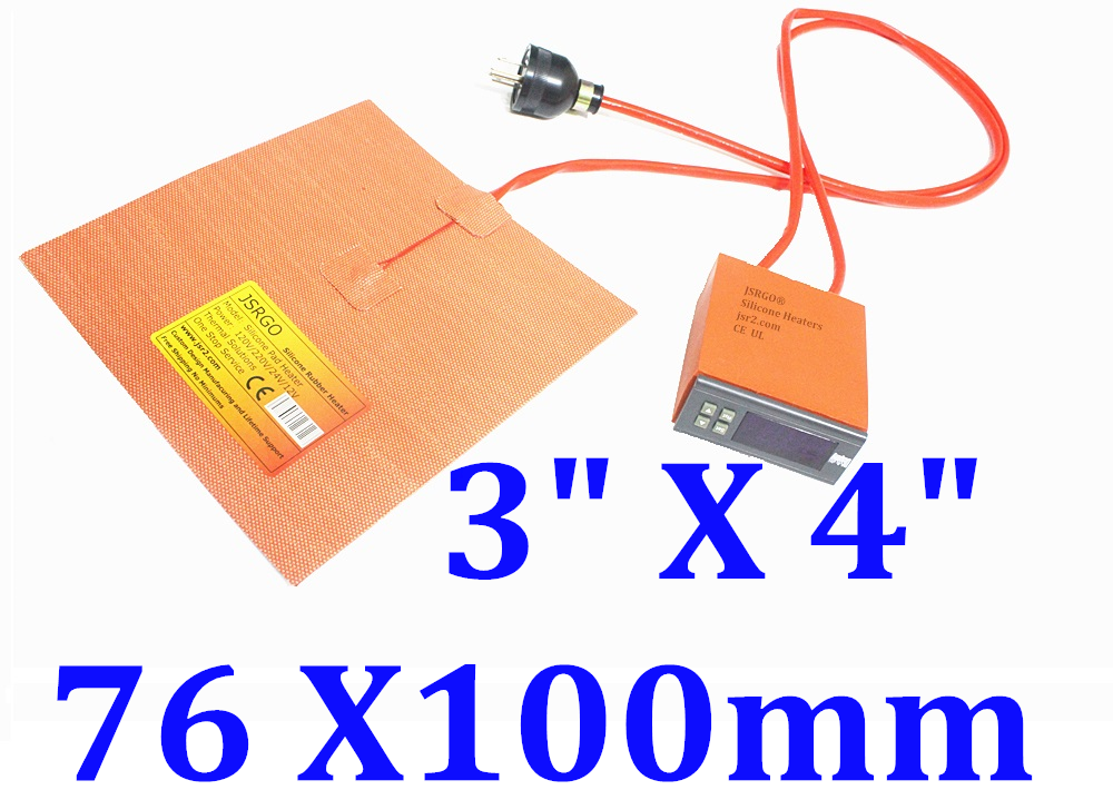 "3"" X 4"" 76 X100mm  120V 25W Heater w/ Digital Controller JSRGO Wires at 3"" side"