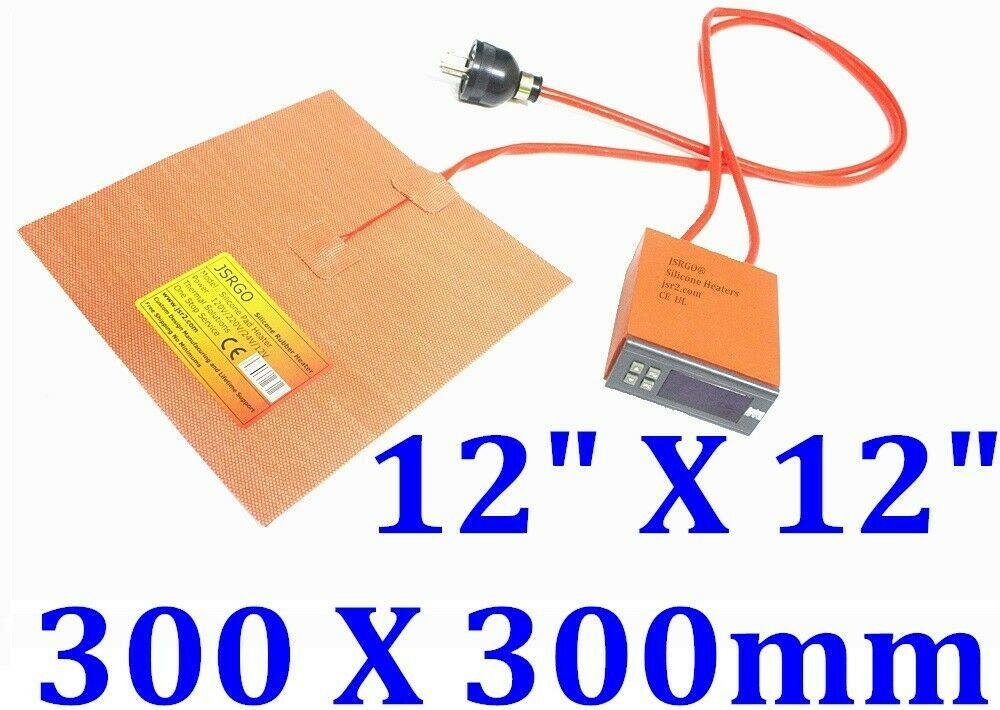 "12"" X 12"" 300 X 300mm 120V 300W w/ Digital Controller 3M Silicone Heater Pad Mat"