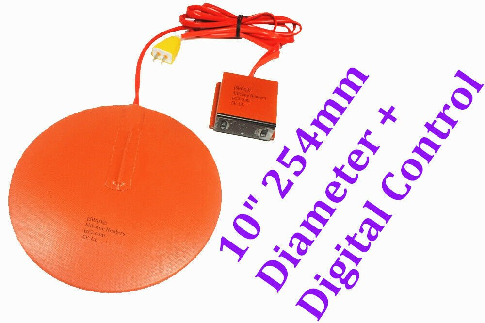 "10"" 254mm 500W Tank Pot Bucket Circular Silicone Heater Plus Digital Controller"