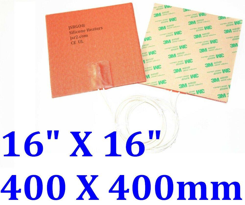"""16"""" X 16"""" 400 X 400mm 12V 200W w/ 3M JSRGO CE UL Silicone Flexible Pad Heater"""