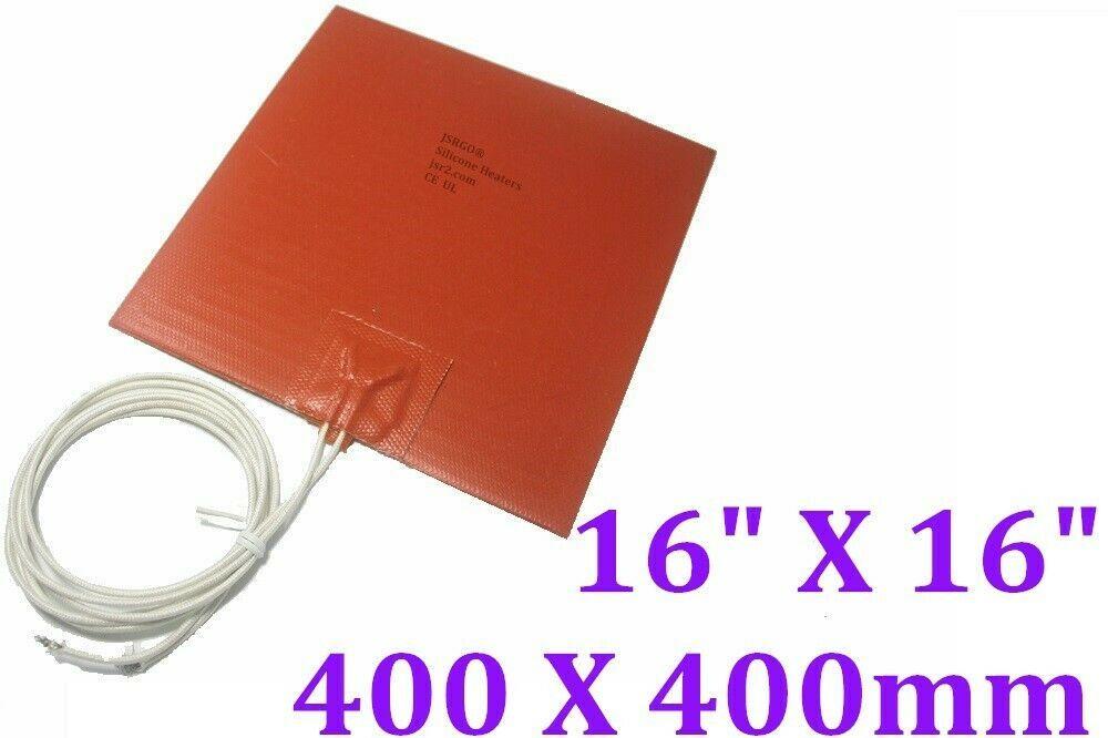"16 "" X 16"" 400 X 400mm 110V 1200W 3D Printer HeatBed CE UL Silicone Heater Pad"