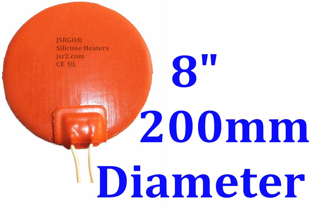 "8""  200mm 200W 3M PSA Circular Mat HeatBed CE UL Round Pad JSRGO Silicone Heater"