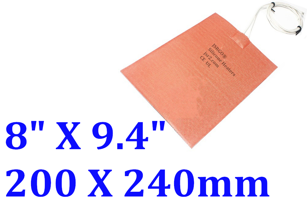 """8"""" X 9.4"""" 200 X 240mm 110V 500W 3D Printer Heater Bed Silicone Pad for Ultimaker"""