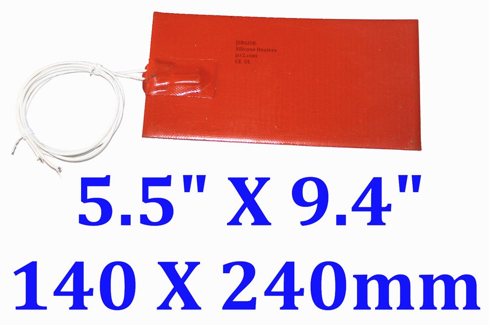 """5.5"""" X 9.4"""" 140 X 240mm 110V 200W  Built-in Thermostat 60C w/ 3M JSR  Heater Pad"""