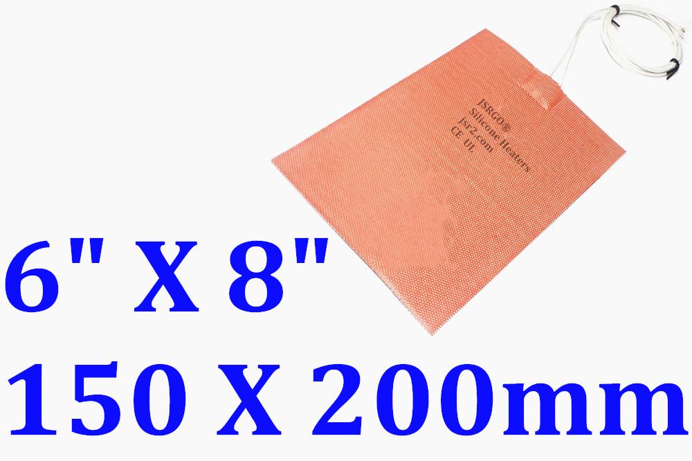 "6"" X 8"" 150 X 200mm 200W w 3M CE UL Universal Silicone Heater Pad Engine Oil Pad"