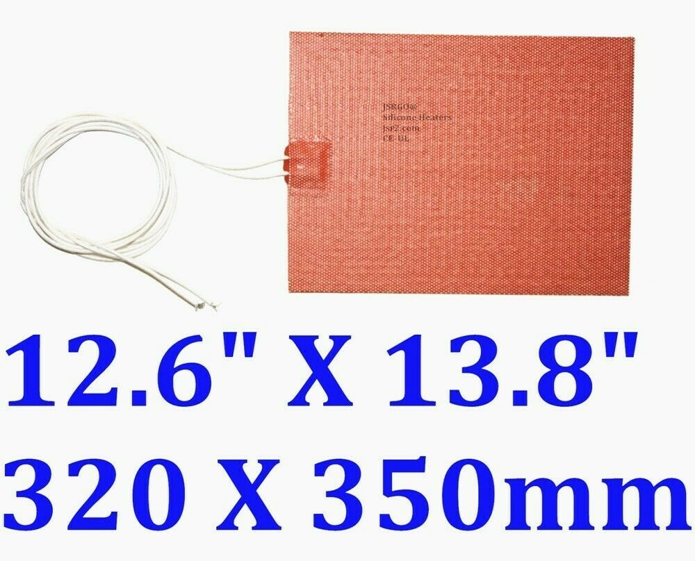 "12.6"" X 13.8"" 320 X 350mm 110V 500W w/ 3M CE UL JSRGO Silicone Battery Heater"