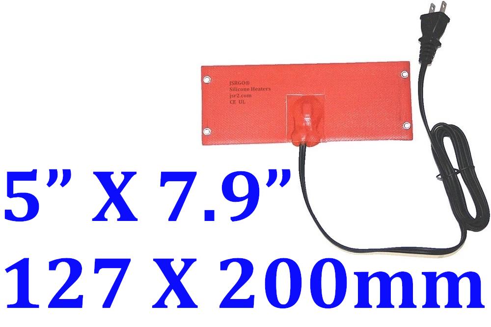 "5"" X 7.9"" 127 X 200mm 120V 100W w/ 65C Thermostat w/ Eyelets w/ US Plug1.7m Cord"