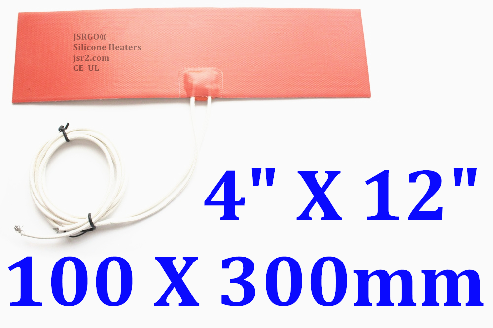 "4"" X 12"" 100 X 300mm 12V 100W w 3M Factory Direct Sale JSRGO Silicone Pad Heater"
