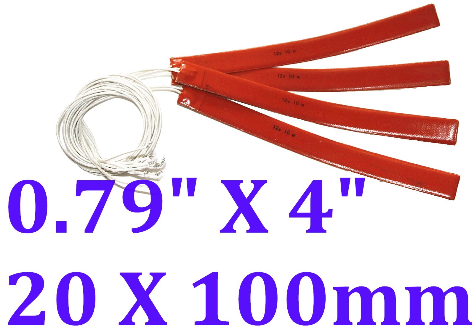 "0.79"" X 4"" 20 X 100mm 12V 5W w/ 3M JSRGO CE UL Silicone Rubber Heaters 4 PCs"