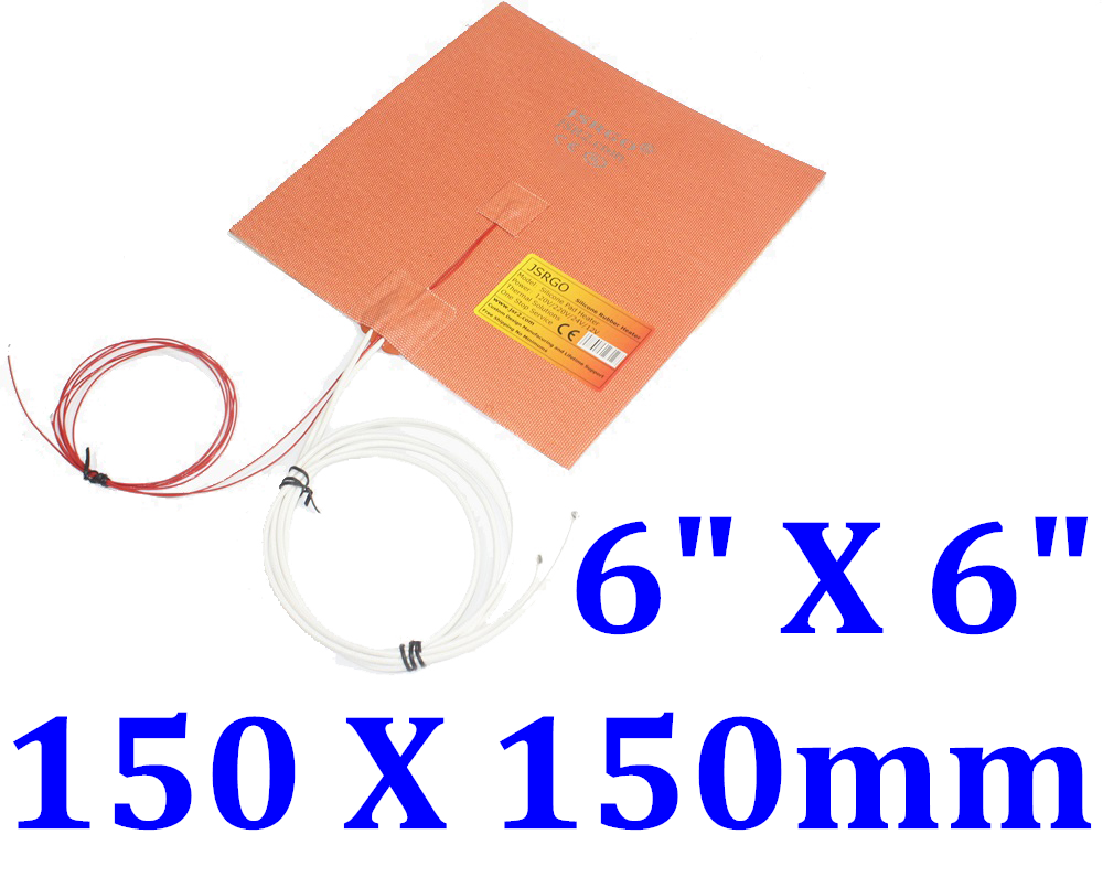 "6"" X 6""  150 X 150mm 230V 175W NTC100K Thermistor Silicone Heater Pad 3D Printer"