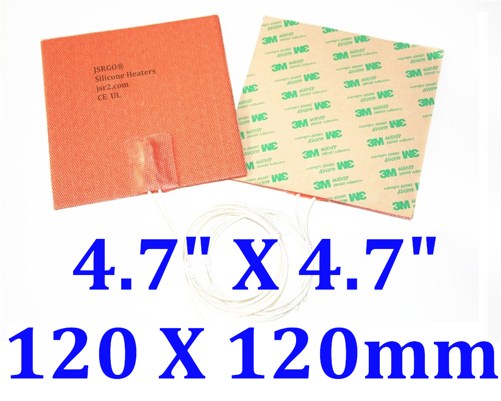 """4.7"""" X 4.7"""" 120 X 120mm 120W w/ 3M PSA Universal CE UL JSRGO Silicone Heater Pad"""