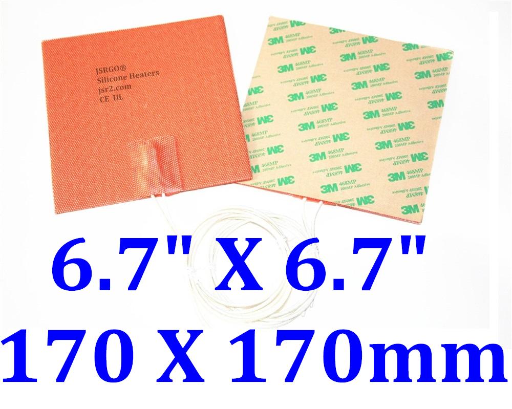 "6.7"" X 6.7"" 170 X 170mm 120V 350W w 3M 3D Printer Silicone Pad JSR2 Silicone Mat"
