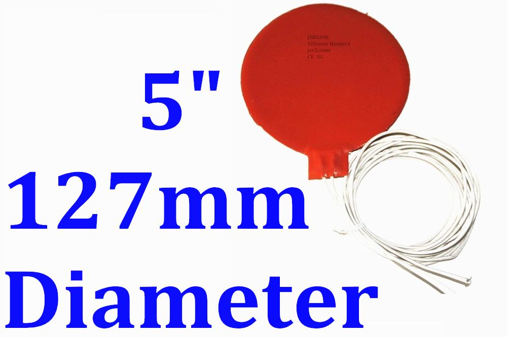 "5"" 127mm Diameter 120V 60W JSRGO Factory Direct Sale CE UL Silicone Heater Pad"