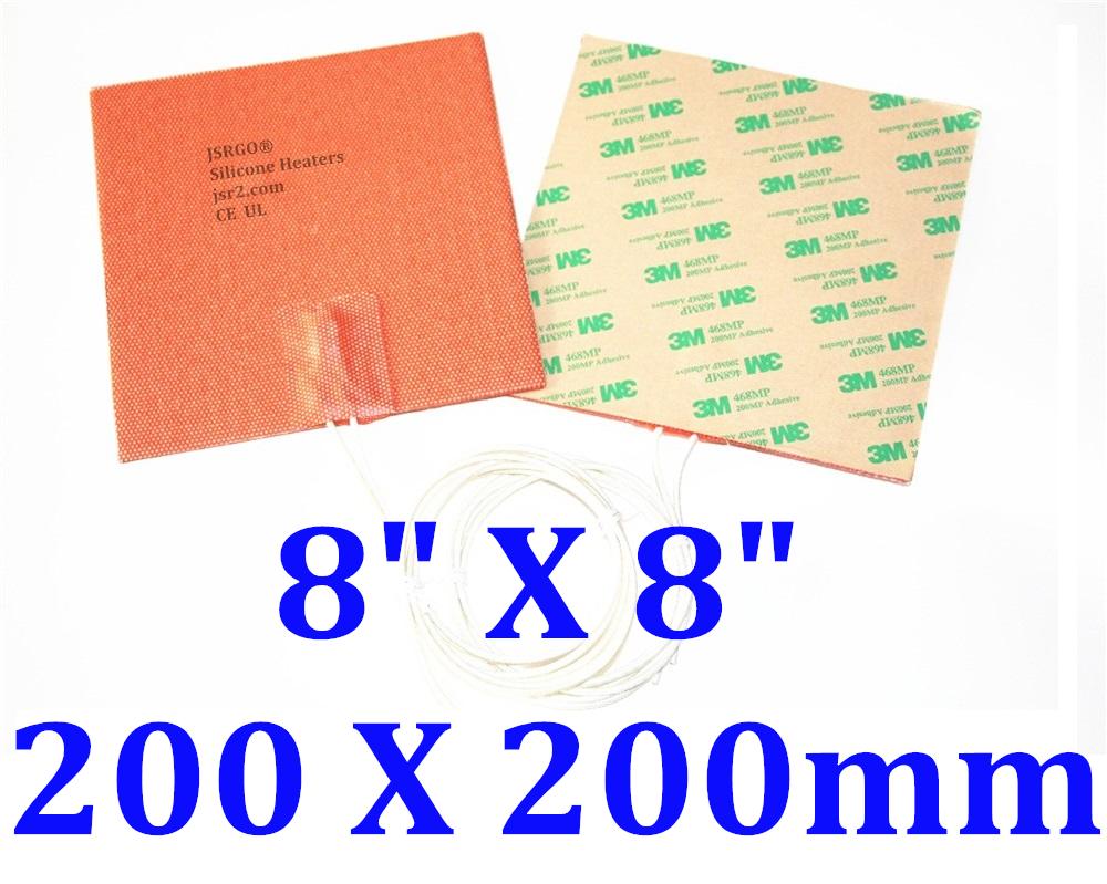 "8"" X 8""  200 X 200mm 12V 150W w/ 3M 3D Printer HeatBed JSRGO CE UL Heating Pad"