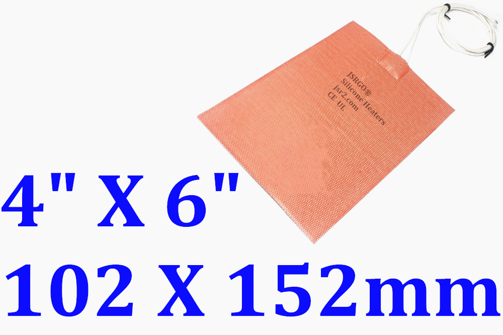 """4"""" X 6"""" 100 X 150mm 12V 3W Heating at 10 DegreeC CE UL JSRGO Silicone Heater Pad"""