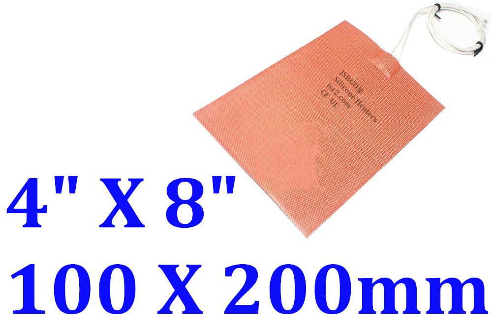 "4"" X 8"" 100 X 200mm 110V 400W w/ 3M Factory Direct Sale JSR2 CE Silicone Heater"