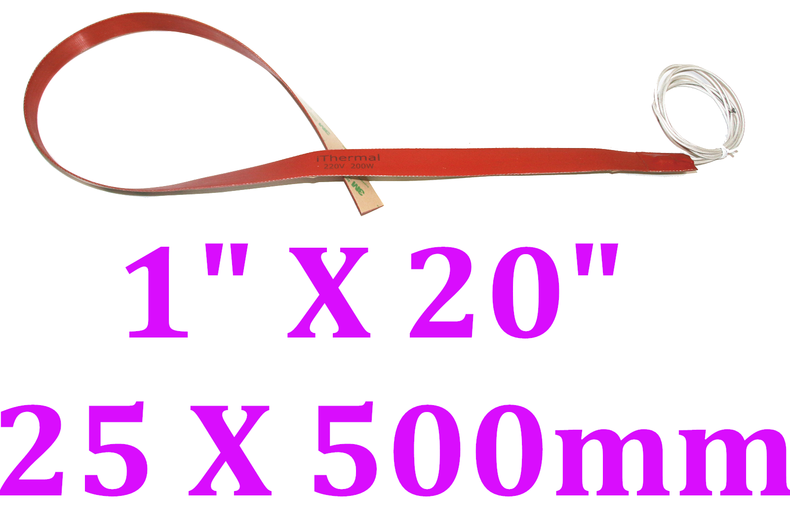 "1"" X 20"" 25 X 500mm 250W w/ 3M w/ K type Thermocouple Printer Tape Pipe Heater"